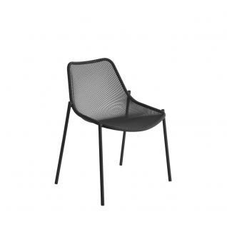 4 Stück × Emu Round Gartenstühle mit Streckmetall Sitzschale, stapelbar