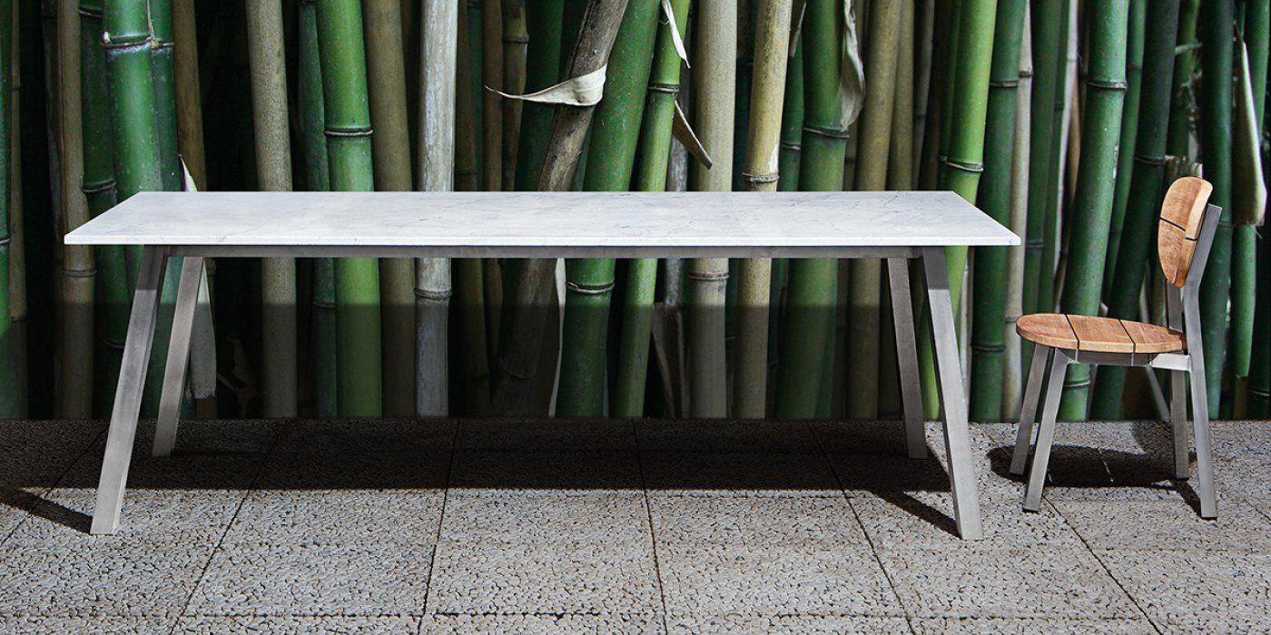 Gervasoni Inout 133 Gartentisch Tischplatte Aus Glas Teakholz