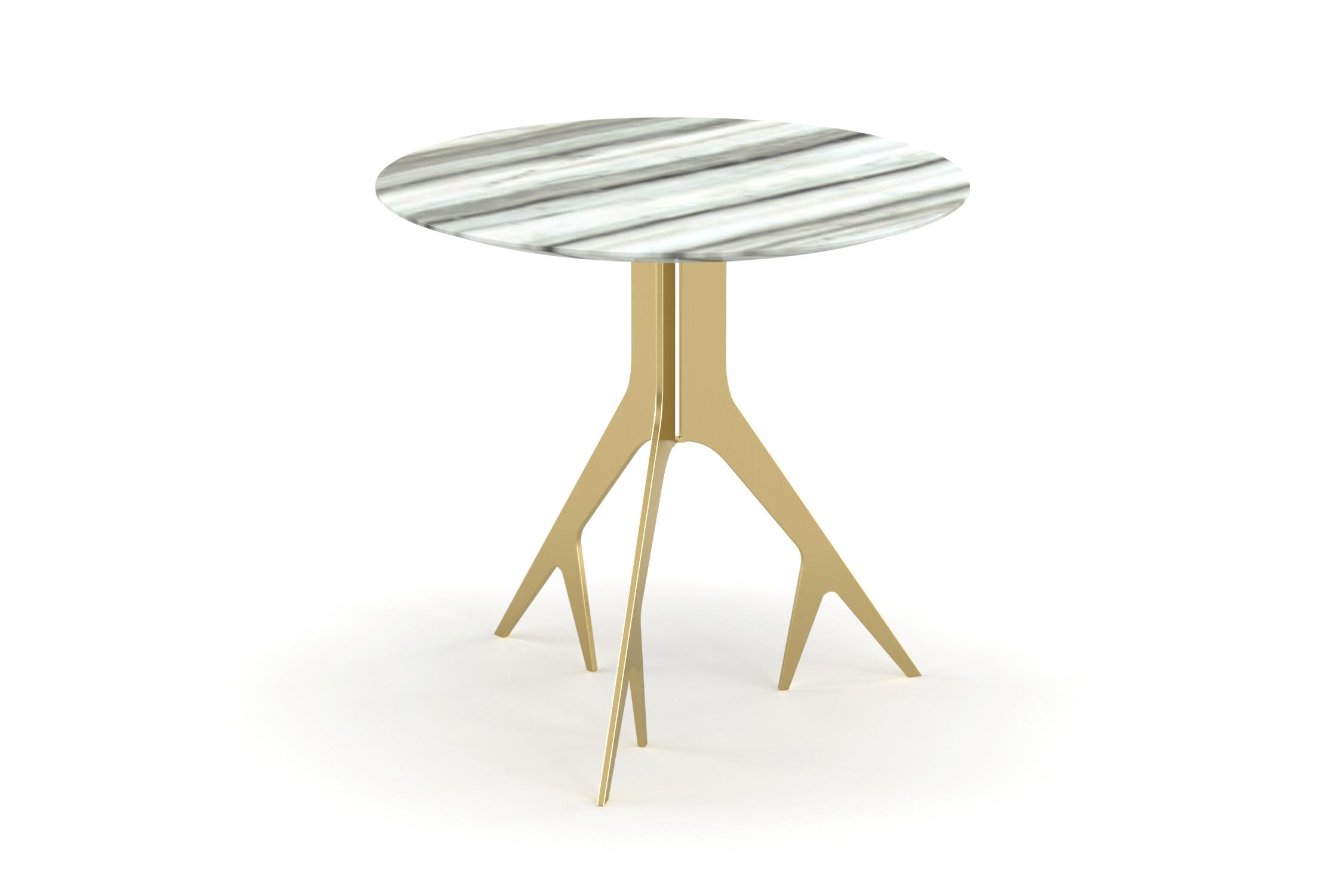YACHTLINE SWING • Beistelltisch rund Ø 33 cm mit Tischplatte aus Glas oder  Marmor
