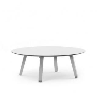 Varaschin Emma Loungetisch Ø 100 / H 39 cm • Aluminiumbeine • HPL bzw. Keramikplatte