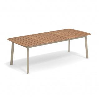 Emu Shine Gartentisch 225 cm • Outdoor Esstisch aus Aluminium / Teakholz