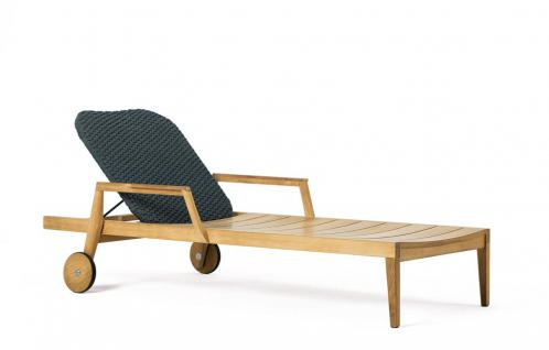 Ethimo Knit Sonnenliege verstellbar, rollbar aus Teakholz