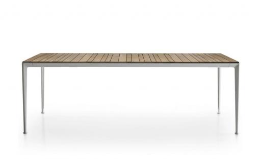 B&B Italia Mirto Outdoor Esstisch 220 cm, Tischplatte Aluminium, Calacatta oder Iroko