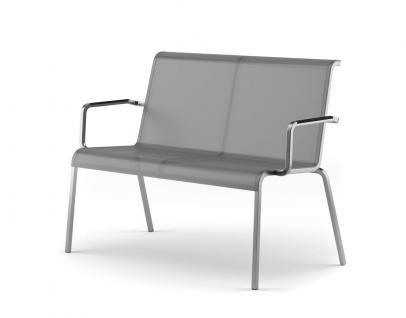 Fischer Möbel Modena Gartenbank, stapelbar, Armlehne mit Kunstoff- oder Teak-Einsatz