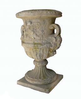 French Pottery Steinvase mit Engelfiguren Dekoration 140 cm