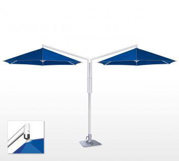 Sonnenschirm Rialto Dual von May, sechseckig 350 cm, Typ RP mit Volant