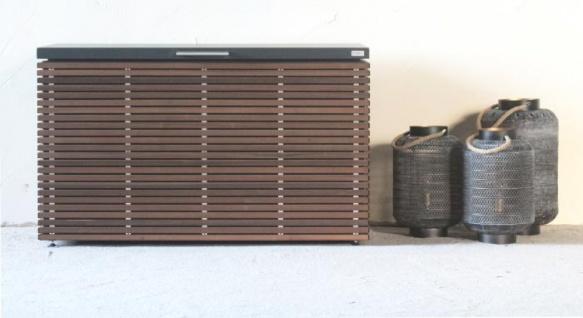 Herrenhaus Kissentruhe Cubic Box mit Holzlamellenverkleidung (verschiedene Größen)