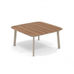 Emu Shine Loungetisch 79 cm • Outdoor Kaffeetisch aus Aluminium / Teakholz