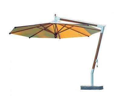 Woodline Freiarmschirm Pendulum von Fischer Möbel aus Eukalyptusholz lasiert Ø 400 cm