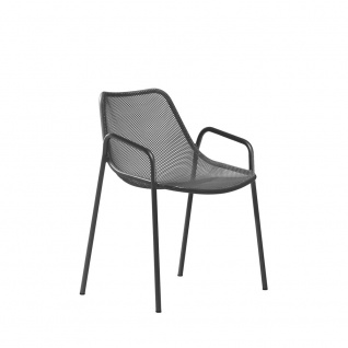 4 Stück × Emu Round Armlehnstühle mit Streckmetall Sitzschale, stapelbar