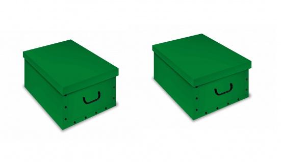 Ordnungsboxen Deko Karton 2er Set Box Clip Grün Aufbewahrungsbox
