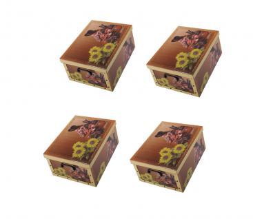 Ordnungsboxen Deko Karton 4er SET Box Clip Unsere Sonnenschein Aufbewahrungsbox für Haushalt Büro Wäsche Geschenkbox Dekokarton Sammelbox Mehrzweckbox Ordnungskarton Ordnungsbox Geschenkekarton