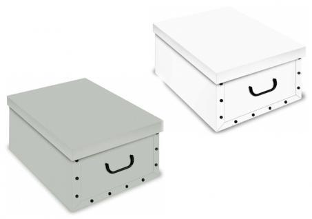Ordnungsboxen Deko Karton 2er SET Box Clip Grau und Weiß Aufbewahrungsbox