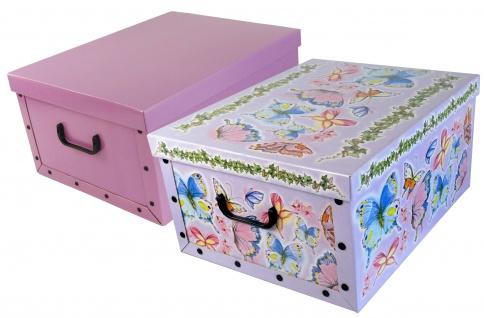 """Ordnungsboxen Deko Karton 2er Set Box Clip """"Schmetterlinge"""" und Violett Aufbewahrungsbox"""