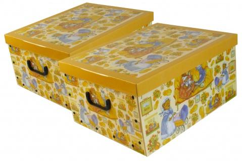 """Ordnungsboxen Deko Karton 2er Set Box Clip """"Teddybär & Hase"""" Aufbewahrungsbox"""