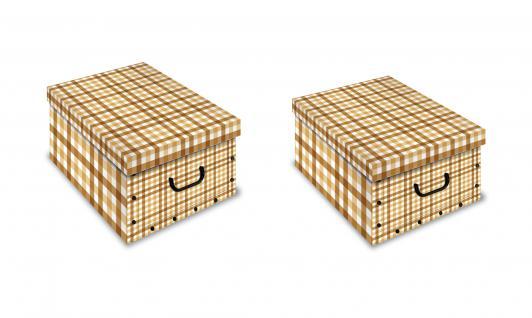 Ordnungsboxen Deko Karton Clip Motiv Quadretto 2er Set Aufbewahrungsbox für Haushalt Büro Wäsche Geschenkbox Dekokarton Sammelbox Mehrzweckbox Ordnungskarton Ordnungsbox Geschenkekarton