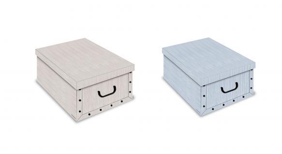 Ordnungsboxen Deko Karton 2er SET Box Clip Millerighe azzurro und Millerighe beige Aufbewahrungsbox für Haushalt Büro Wäsche Geschenkbox Dekokarton Sammelbox Mehrzweckbox Ordnungskarton Ordnungsbox Geschenkekarton