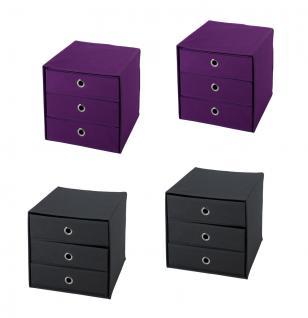 Ordnungsboxen Schubbox DAFINO Violett und Grau 4er SET Aufbewahrungsbox Stoff Aufbewahrungskorb Faltbar Spielzeugkiste Einschubkorb Regalbox Stoffbox Faltbox Regaleinsatz