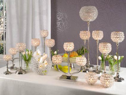 Kristall Kerzenständer Marie M Teelichthalter Kerzenhalter Kerzenleuchter Tischdeko Gastgeschenke silber - Vorschau 3