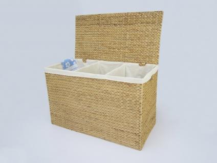 """Wäschebehälter """"Sam"""" aus Wasserhyazinthe Natur, Wäschekörbe Wäschesammler Wäschebehälter Wäschetruhe Aufbewahrungsbox mit Deckel"""