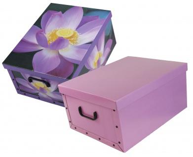 Ordnungsboxen Deko Karton 2er SET Box Clip Violett und Blummen Violett Aufbewahrungsbox