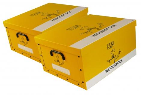 """Ordnungsboxen Deko Karton 2er Set Box Clip """"Woodstock Gelb"""" Aufbewahrungsbox"""