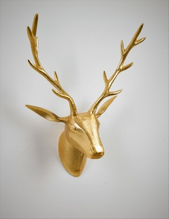 """Deko Geweih Hirschkopf """"gold"""" (Größe: M) - Wandfigur, Wanddeko, Hirschgeweih, Hirschkopf, Geweih und Skulptur"""