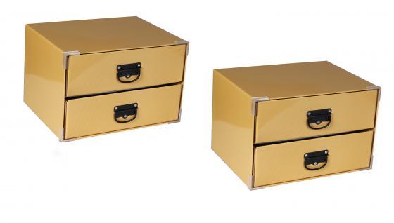 2 x Ordnungsboxen Schubladenbox Cassetiera beige