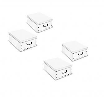 Weiße Kartons, Ordnungsboxen Deko Karton 4er SET Box Clip Weiß Aufbewahrungsbox - Vorschau