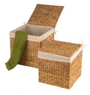 Wasserhyazinthe Körbe Truhen 2er Set M quadratisch Wäschebehälter Wäschetruhe Aufbewahrungsbox mit Deckel Aufbewahrungskiste Aufbewahrungstruhe Wäschetruhe