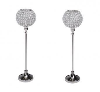 Kristall Kerzenständer Marie XL 2er SET Teelichthalter Kerzenhalter Kerzenleuchter Tischdeko Gastgeschenke silber