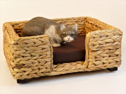 """Artra Design Hundekorb/Katzenbett für Kleinhunde oder Katzen """"Keno"""" aus Wasserhyazinthe, natur 50 cm - Vorschau 2"""