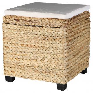 Sitztruhe, Hocker aus Wasserhyazinthe Sitzbank Sitztruhe Aufbewahrungsbox Sitzhocker mit Kissen Aufbewahrungskörbe