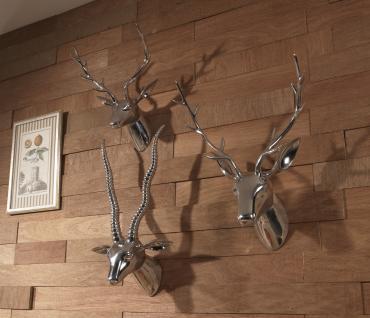 Deko Geweih Antilope Aluminium poliert Wandfigur Wanddekoration modern Wanddeko Wand Objekt Deko Ornamente Antilope - Vorschau 3