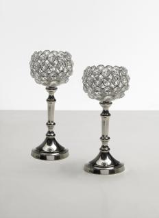 Kristall Kerzenständer Mini Marie 2er SET Teelichthalter Kerzenhalter Kerzenleuchter Tischdeko Gastgeschenke silber Weihnachten Weihnachten Deko Dekoration