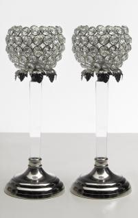Kristall Kerzenständer Teelichthalter Acryl 2er SET Teelichthalter Kerzenhalter Kerzenleuchter Tischdeko Gastgeschenke silber Weihnachten Weihnachten Deko Dekoration