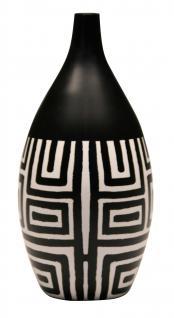 Mango Holz Vase Motiv Black & White