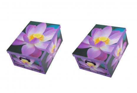 Ordnungsboxen Deko Karton 2er SET Box Clip Violette Blumen Aufbewahrungsbox für Haushalt Büro Wäsche Geschenkbox Dekokarton Sammelbox Mehrzweckbox Ordnungskarton Ordnungsbox Geschenkekarton