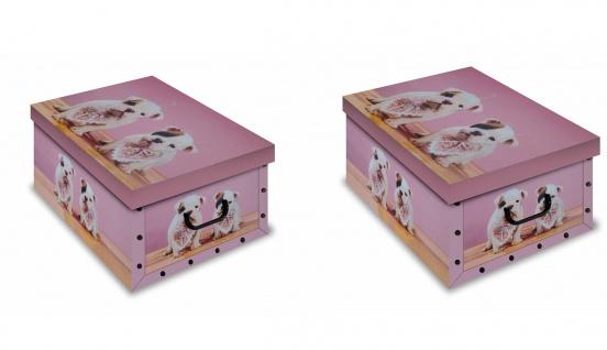 Ordnungsboxen 2er Set Deko Karton Clip Motiv Welpen Aufbewahrungsbox