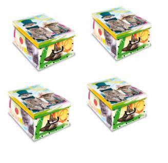Ordnungsboxen Deko Karton 4er SET Box Clip Gattini Katze Aufbewahrungsbox für Haushalt Büro Wäsche Geschenkbox Dekokarton Sammelbox Mehrzweckbox Ordnungskarton Ordnungsbox Geschenkekarton