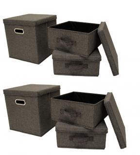 Ordnungsboxen Grau, 2x 3er SET Aufbewahrungsbox Stoff Aufbewahrungskorb mit Deckel Faltbar Spielzeugkiste Einschubkorb Regalbox Stoffbox Faltbox Regaleinsatz