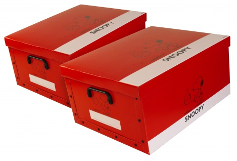 """Ordnungsboxen Deko Karton 2er Set Box Clip """"Snoopy Rot"""" Aufbewahrungsbox"""