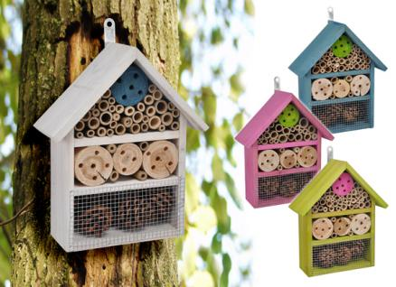 Insektenhotel in blau Insektenhaus Insekten - / Bienen - Haus Bienenhotel Garten Terrasse Insektenkasten