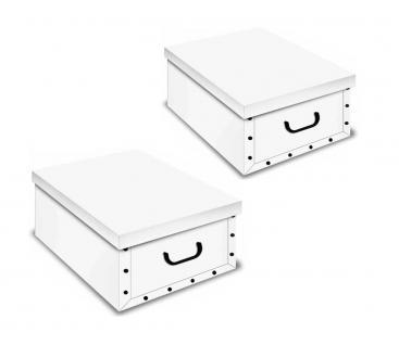 Weiße Kartons, Ordnungsboxen Deko Karton 2er SET Box Clip Weiß Aufbewahrungsbox