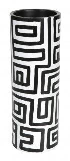 Mango Massivholz Holz Vase Motiv Black & White
