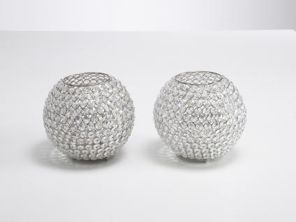 Kristall Kerzenständer 2er SET Kugel Big 21 cm Teelichthalter Kerzenhalter Kerzenleuchter Tischdeko Gastgeschenke silber