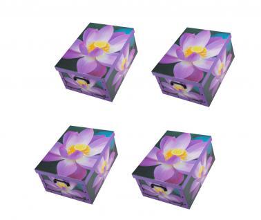 Ordnungsboxen Deko Karton 4er SET Box Clip Violette Blumen Aufbewahrungsbox für Haushalt Büro Wäsche Geschenkbox Dekokarton Sammelbox Mehrzweckbox Ordnungskarton Ordnungsbox Geschenkekarton