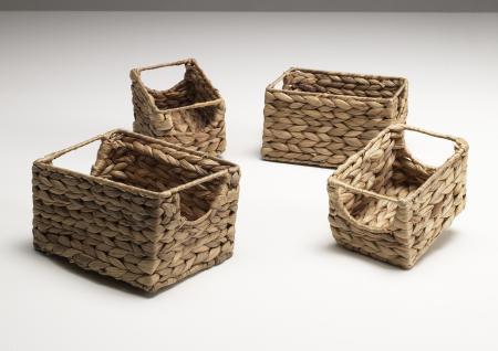 Aufbewahrungs Körbe rechteckig 4er Set Natur, Ordnungshelfer Rechteckig Aufbewahrung Ordnungshelfer Geschenkeboxen Regalaufbewahrung Aufbewahrungskorb Regalkorb