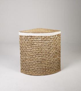 """Eckwäschebehälter """"Chris"""" L aus Wasserhyazinthe Natur, Wäschekörbe Wäschesammler Wäschebehälter Wäschetruhe Aufbewahrungsbox mit Deckel Aufbewahrungskiste Aufbewahrungstruhe Wäschetruhe Wäschekorb"""