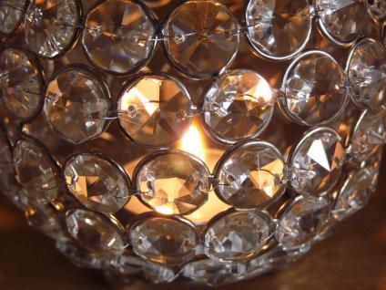 Kristall Kerzenständer Kugel 10 cm 4er Set Teelichthalter Kerzenhalter Teelichthalter Bling Bling Tafel Hochzeit Tischdeko Gastgeschenke silber - Vorschau 4
